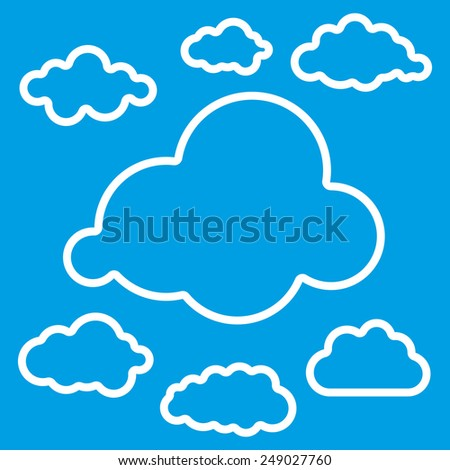 Vector illustration of linear clouds collection