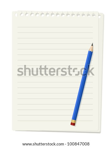 Vector illustration of lined paper sheet with pencil - stock vector