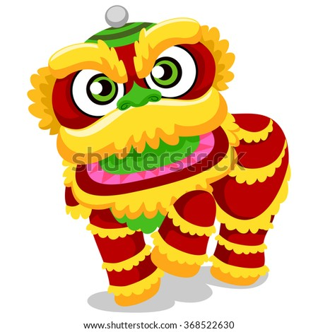 Vector Illustration of Lion Dance for Chinese New Year - stock vector