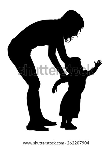 Vector illustration of little baby with his mother silhouettes - stock vector