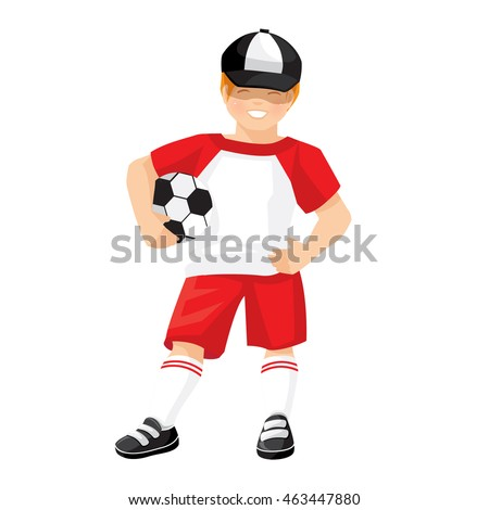 Vector illustration of little boy in sport wear with ball isolated on white background.