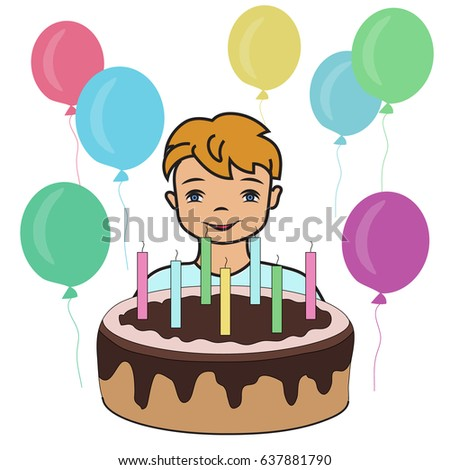 Vector Illustration Little Boy Birthday Cake Birthday Stock Vector