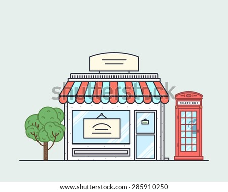 Vector illustration of little cute retro store, shop or boutique with awning, phone booth and green tree - stock vector