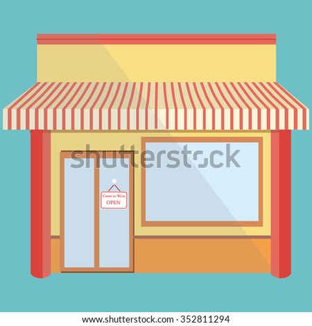 Vector illustration of little cute store, shop or boutique facade with awning and we are open sign on blue background. Empty store - stock vector