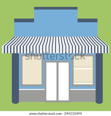 Vector illustration of little cute store, shop or boutique facade with awning on green background. Empty store - stock vector
