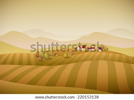 Vector illustration of little village landscape with fields. Autumn version. Elements are layered separately.  - stock vector