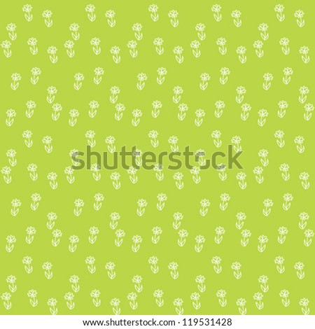 vector illustration of little white flowers placed on lime green field, creating repeating vintage wallpaper, seamless background texture or retro textile, very bright spring pattern - stock vector