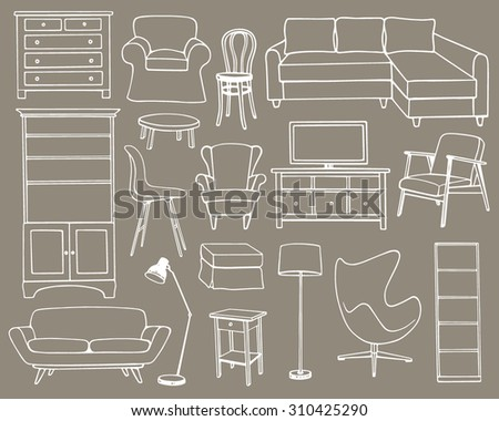 Vector illustration of living room furniture. Hand drawn furniture set made in linear style. Beautiful design elements, perfect for any business related to the furniture industry. - stock vector