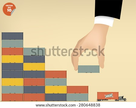 vector illustration of logistics concept design, loading cargo containers to cargo truck by business man hand - stock vector