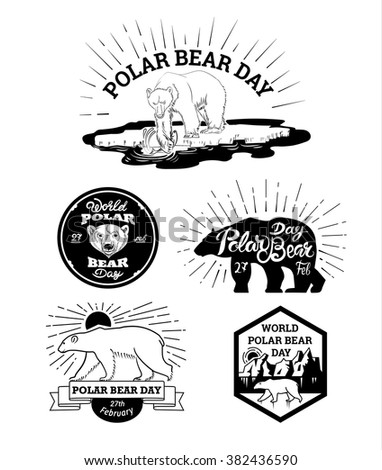 vector illustration of logos and labels to the polar bear's Day with text sun, icebergs, sea on a white background - stock vector