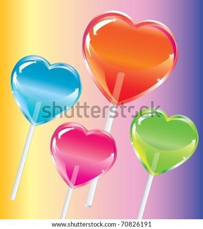 Vector illustration of lollipops. heart shape - stock vector