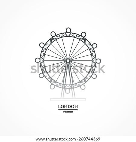 Vector Illustration Of London Eye Entertaiment Icon Outline For Design Website Background Banner