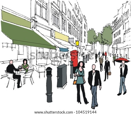Vector illustration of London outdoor shopping mall and pedestrians - stock vector