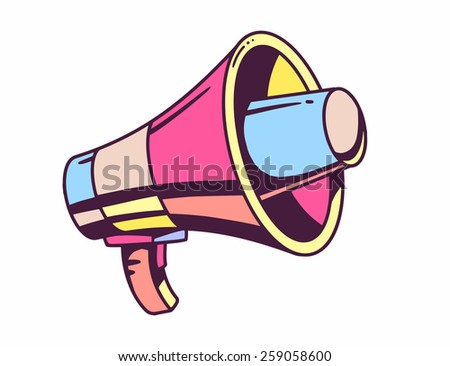 Vector illustration of loudspeaker on white background. Bright color hand draw line art design for web, site, advertising, banner, poster, board and print. - stock vector