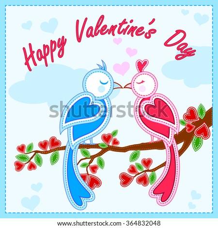 vector illustration of love bird in Happy Valentine's Day background - stock vector