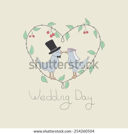 Vector illustration of love birds getting married. Wedding card. Vintage, rustic style - stock vector