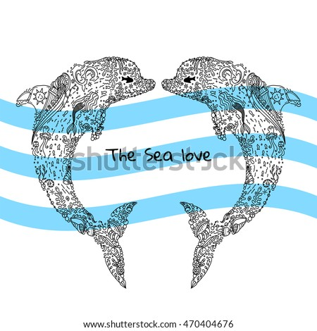 Vector Illustration Love Couple Dolphin Detailed Stock Vector ...