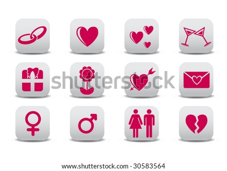 Vector illustration of Love icons.  Ideal for Valetine Cards decoration - stock vector