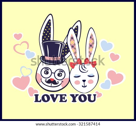 Vector illustration of lovely gift card with a love white rabbits for Valentine's day, marriage or for another holiday. Funny bunnies - stock vector