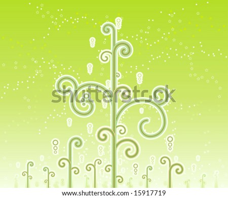 Vector illustration of lovely swirly magic trees with magical stars and horizon gradient effect.