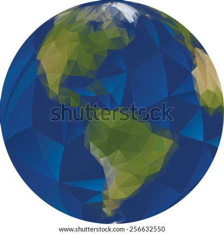 Vector Illustration of Low Poly World - stock vector