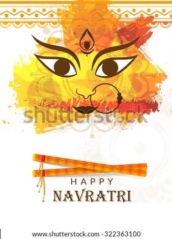 Vector illustration of Maa Durga in a colourful background for Happy Navratri. - stock vector