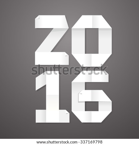 "Vector illustration of ""2016"" made of paper for notes on gray background - stock vector"