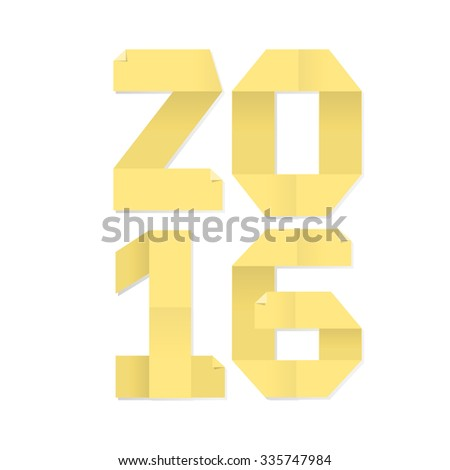 "Vector illustration of ""2016"" made of yellow paper for notes on white background - stock vector"