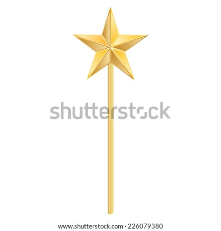 Vector illustration of magic wand with golden star - stock vector