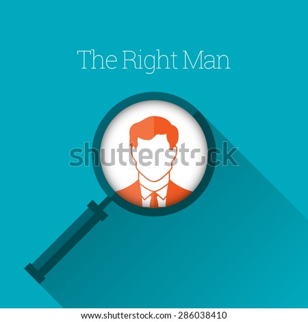Vector illustration of magnifying glass focus on a man profile. - stock vector