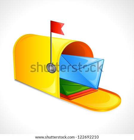 vector illustration of mailbox with letter - stock vector