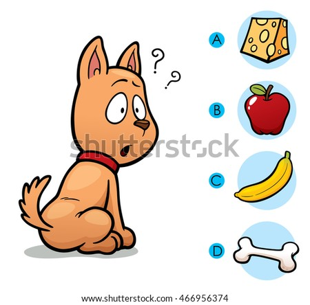 Vector Illustration of make the right choice connect animal with their food - Dog