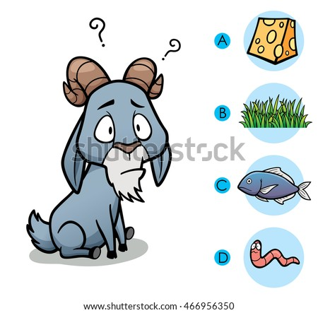 Vector Illustration of make the right choice connect animal with their food - Goat