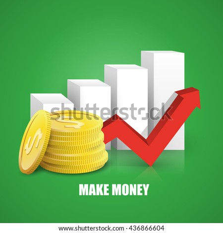 vector illustration of making money, coins and graph arrow - stock vector