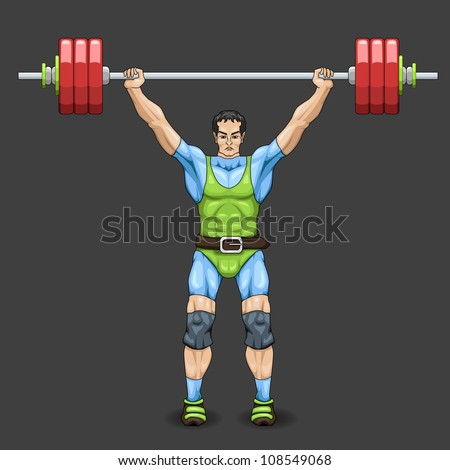 vector illustration of male doing weightlifting - stock vector
