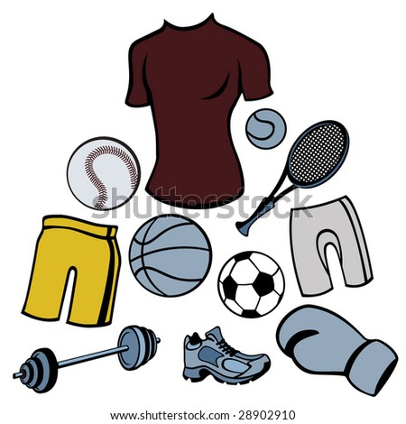 Vector illustration of man accessories set related to sport life style. - stock vector