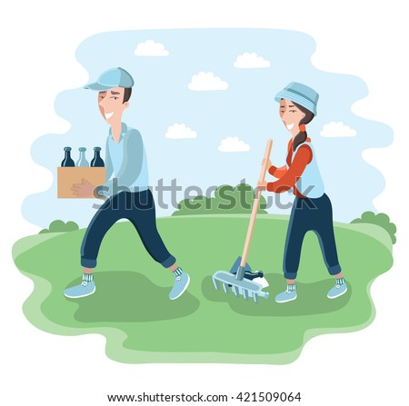 Vector illustration of man and woman clean the park or garden. Girl with a rake removes debris. Man carries a box with bottles - stock vector