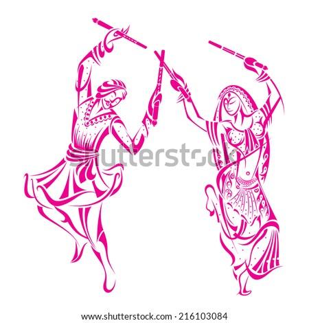 vector illustration of man and woman dancing on Dandiya night - stock vector