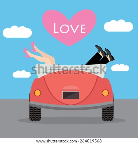 Vector illustration of man and woman, girl and boy in car and sign Love on heart. Minimalistic flat style. - stock vector