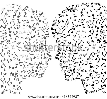 vector illustration of man and woman musical notes heads