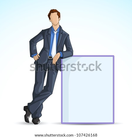 vector illustration of man leaning on blank board - stock vector