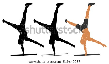 Vector illustration of man performing one-arm handstand on parallel bars.