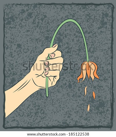 Vector illustration of man's hand offering a limp sagging tulip flower. Metaphor for depression, impotence, aging, defeat, heartbreak, sadness, lost love. Original art by this artist.