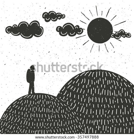 Vector illustration of man silhouette, mountains, clouds and sun. Motivational and inspirational typography poster. The concept of the unity of man and nature. Travel, adventure, backpacking lifestyle - stock vector