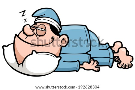 Vector illustration of man sleeping - stock vector