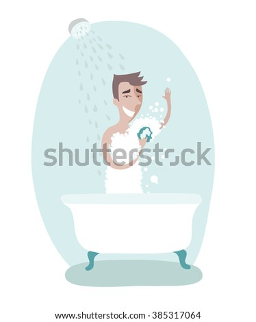 Vector illustration of man taking care of personal hygiene. Taking shower - stock vector