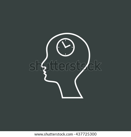 Vector illustration of man time sign icon on dark background.