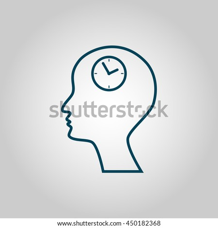 Vector illustration of man time sign icon on grey background.