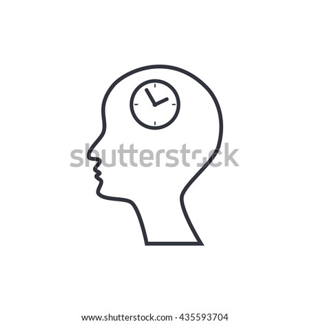 Vector illustration of man time sign icon on white background.