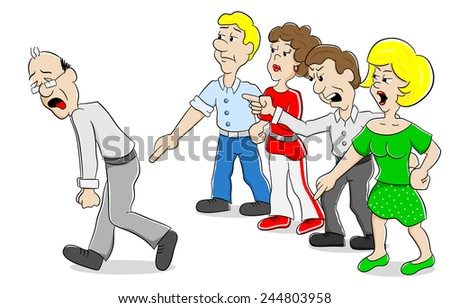 vector illustration of many people arguing with each other - stock vector